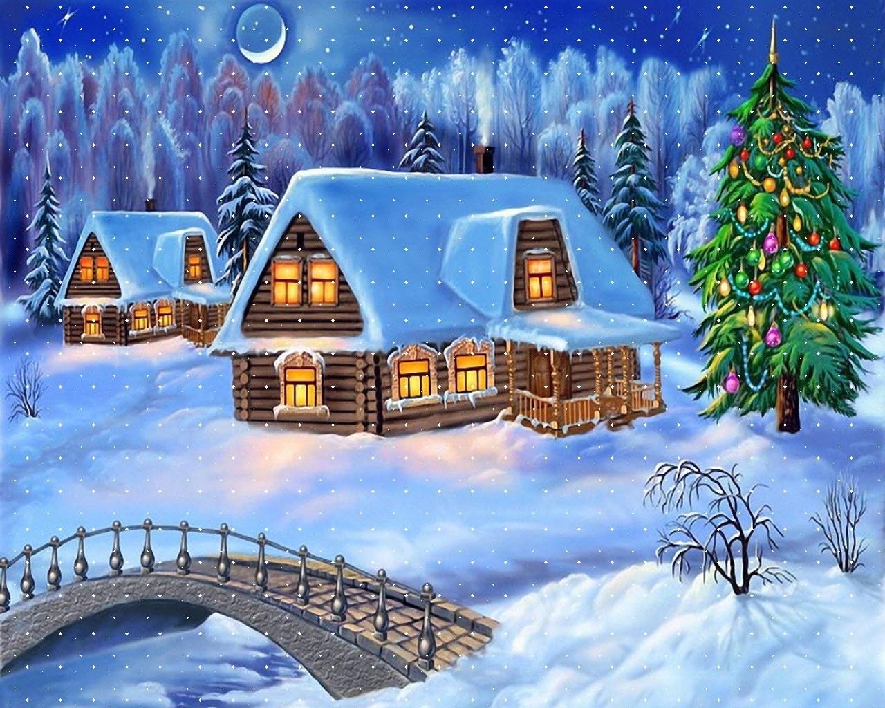 Новогодняя открытка красивая, надписью лучше