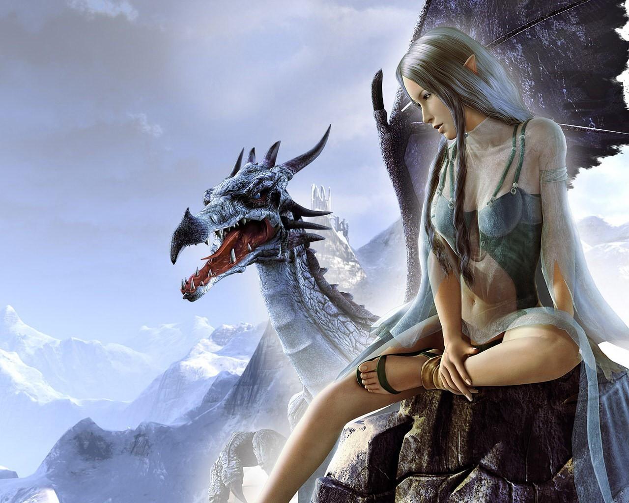 Открытка девушка с драконом, включить приложение