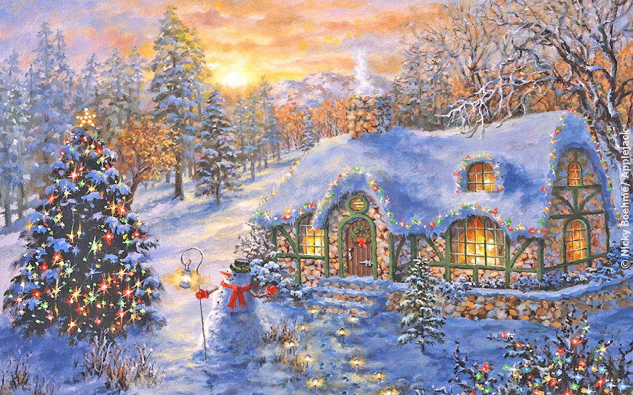 Открытки новогодние пейзаж