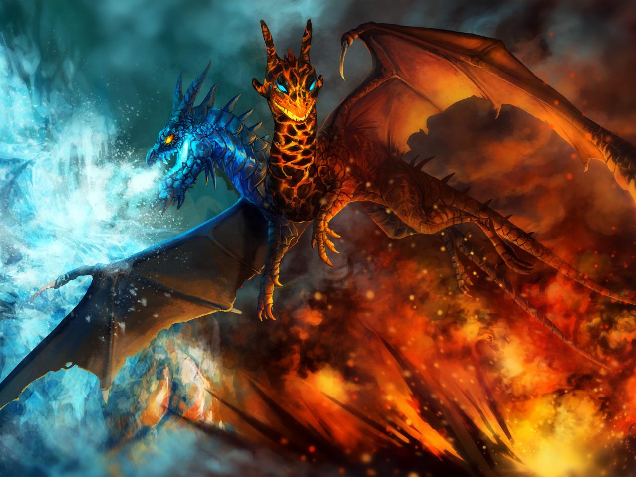подготовили картинки дракона льда и пламени после