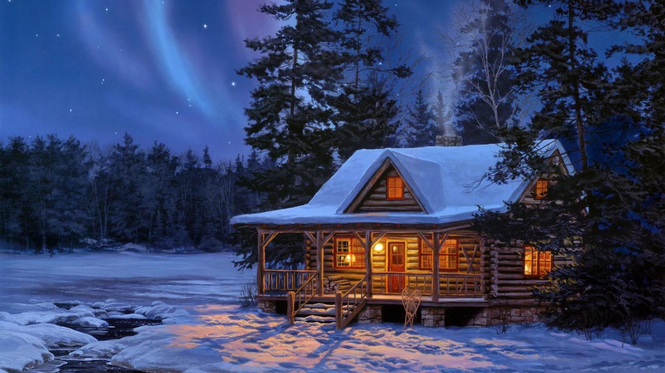 Картинки зимний дом в лесу на рабочий стол