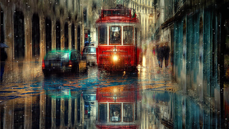 обои живые дождь фонари трамваи