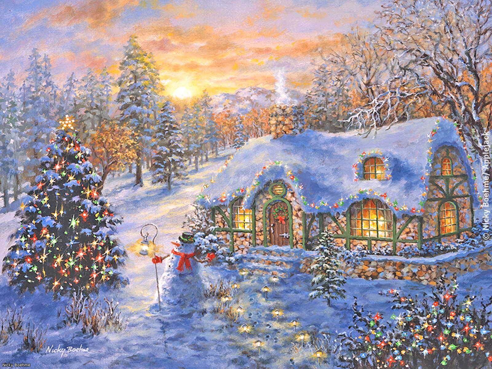 поклонник европейской зимняя новогодняя картина рисунок создавать открытки