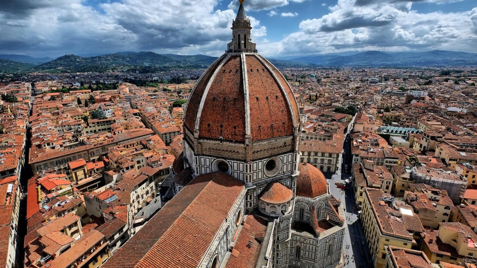 Обои собор санта-мария-дель-фьоре, купол, флоренция, дома, колокольня Джотто. Города foto 9