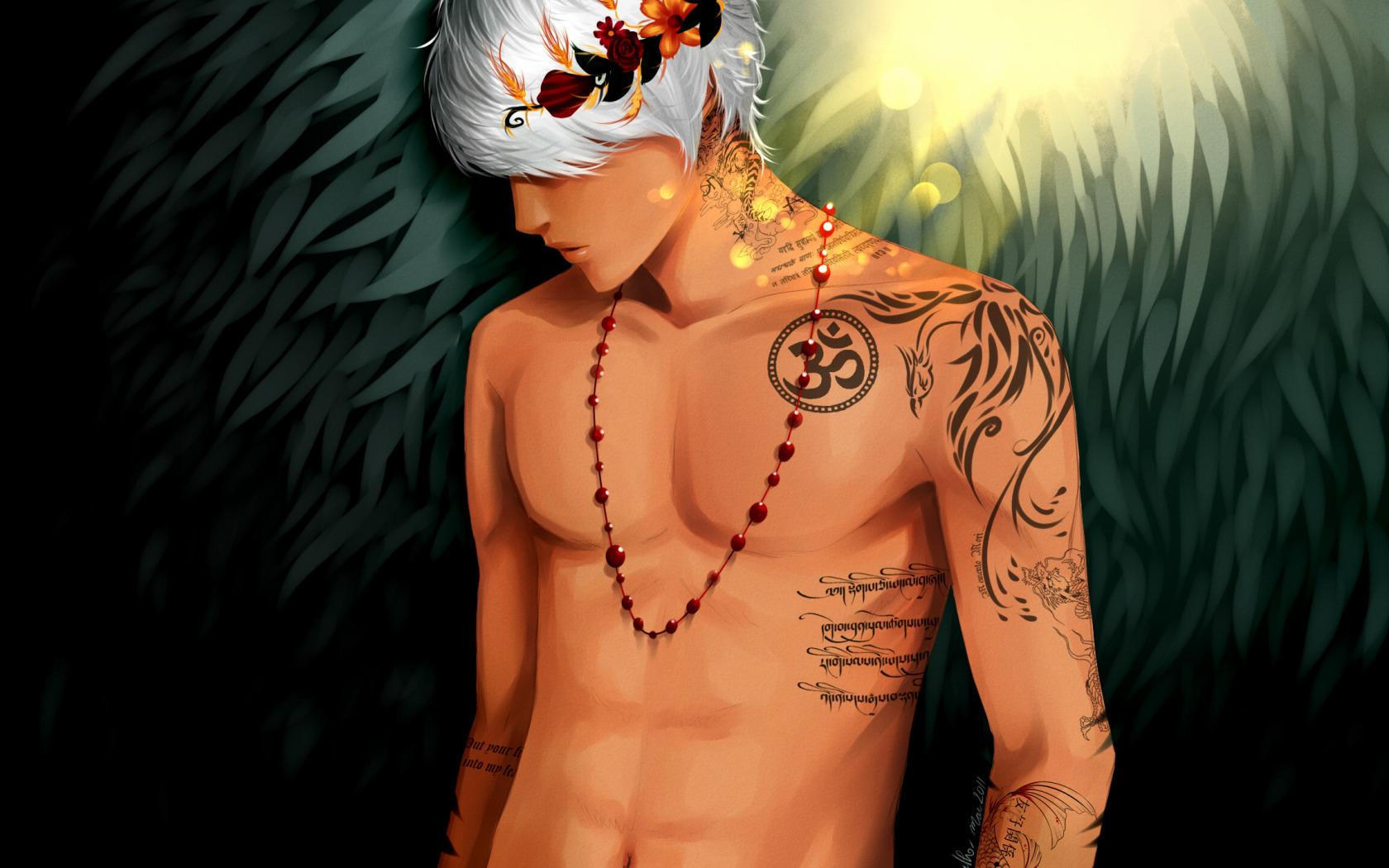 Рисунок парень с татуировкой на