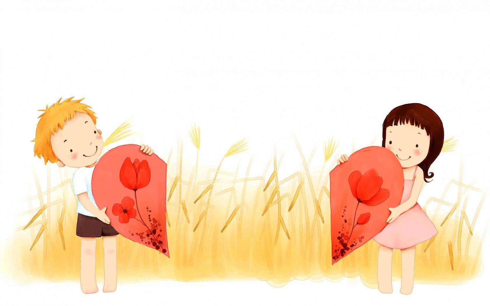 Мальчик и девочка в сердечке картинка