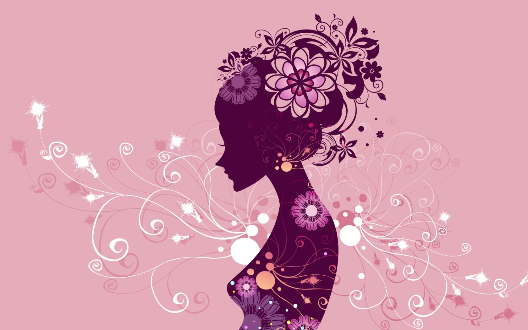 Силуэт девушки для открытки с днем рождения, балериной
