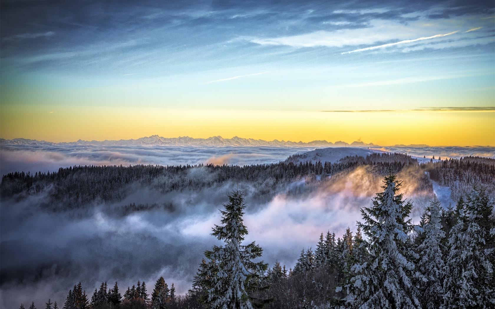 Скачать обои nature, landscape, mountain, winter, snow, sky, fog, природа,