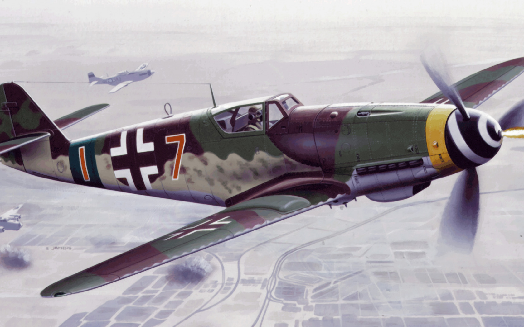Обои Bf 109 k4, war, painting, german fighter, ww2, aviation. Авиация foto 6