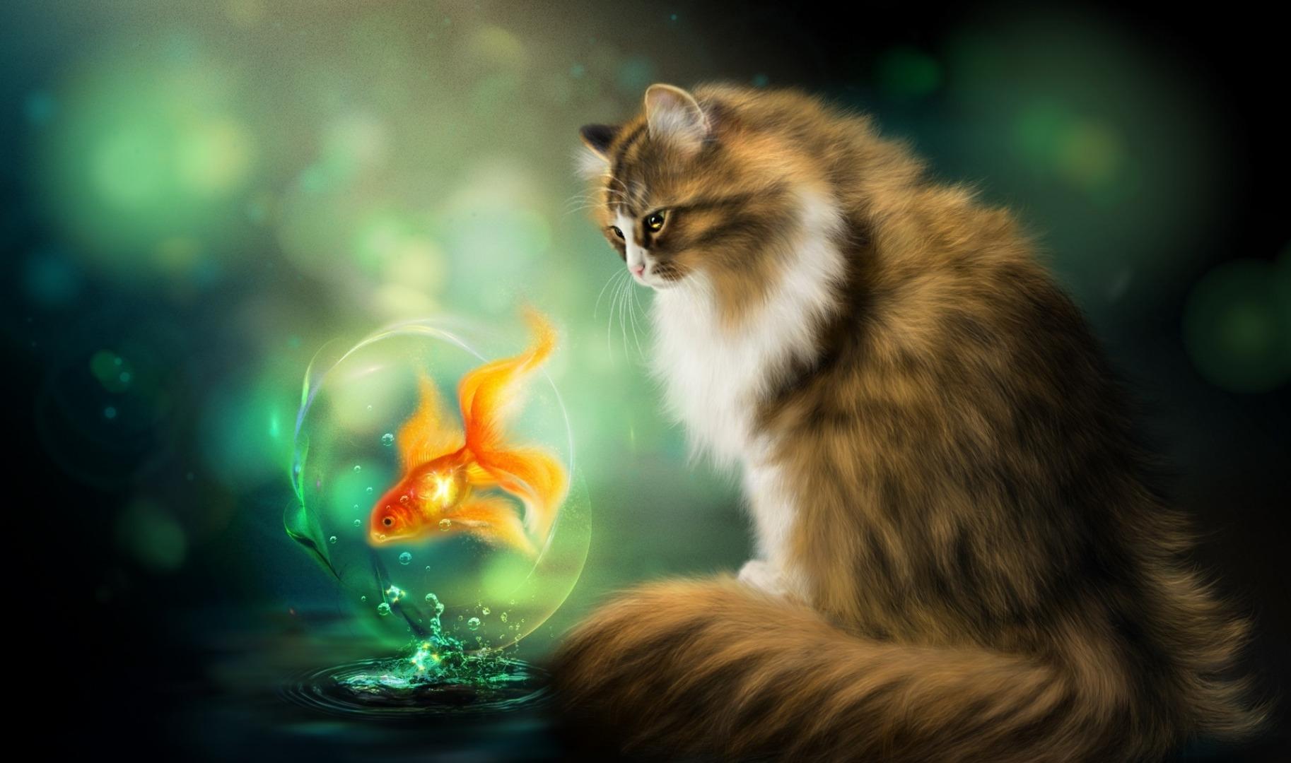 кошки фантастические картинки девке захотелось