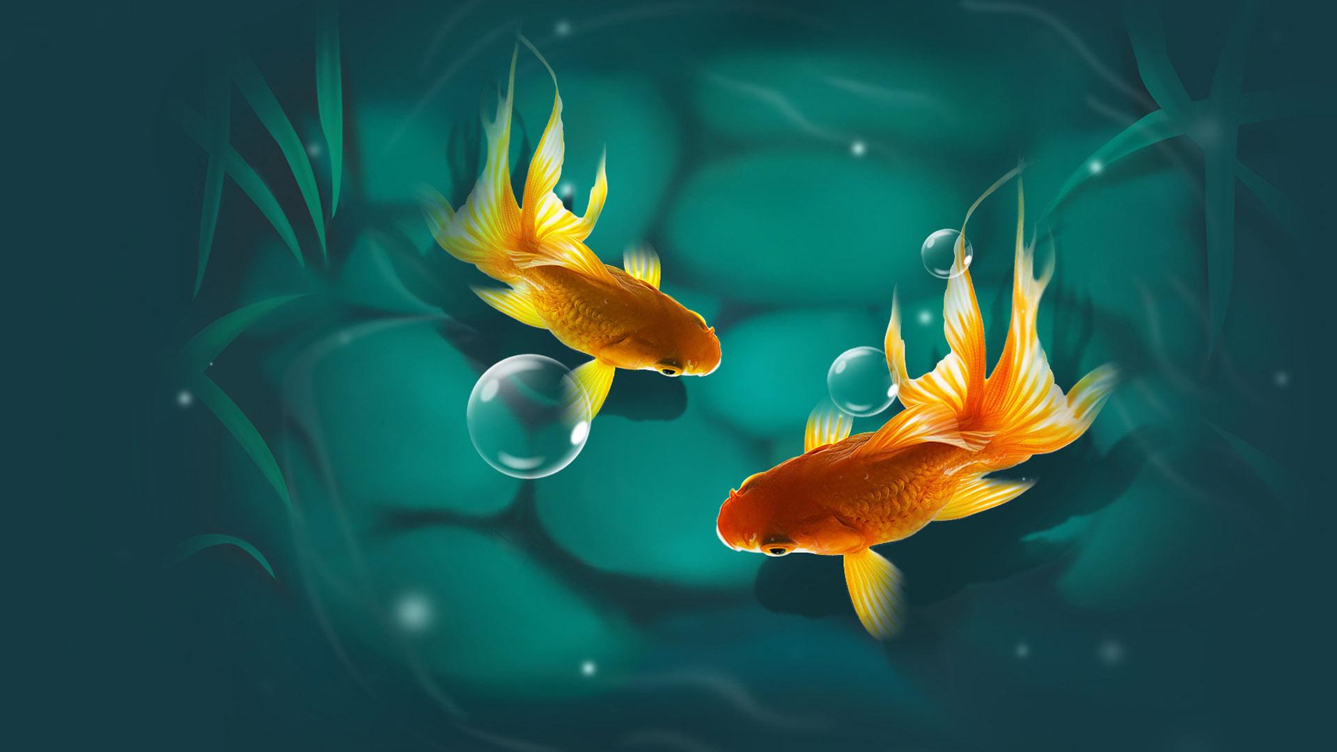 Золотая рыбка красивые картинки, надписью