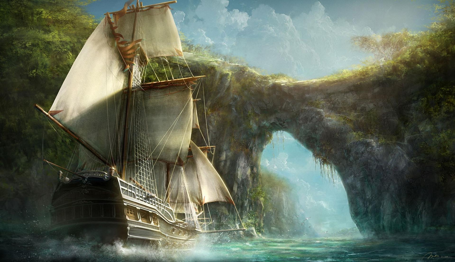 Фэнтези фотоколлаж парусные корабли
