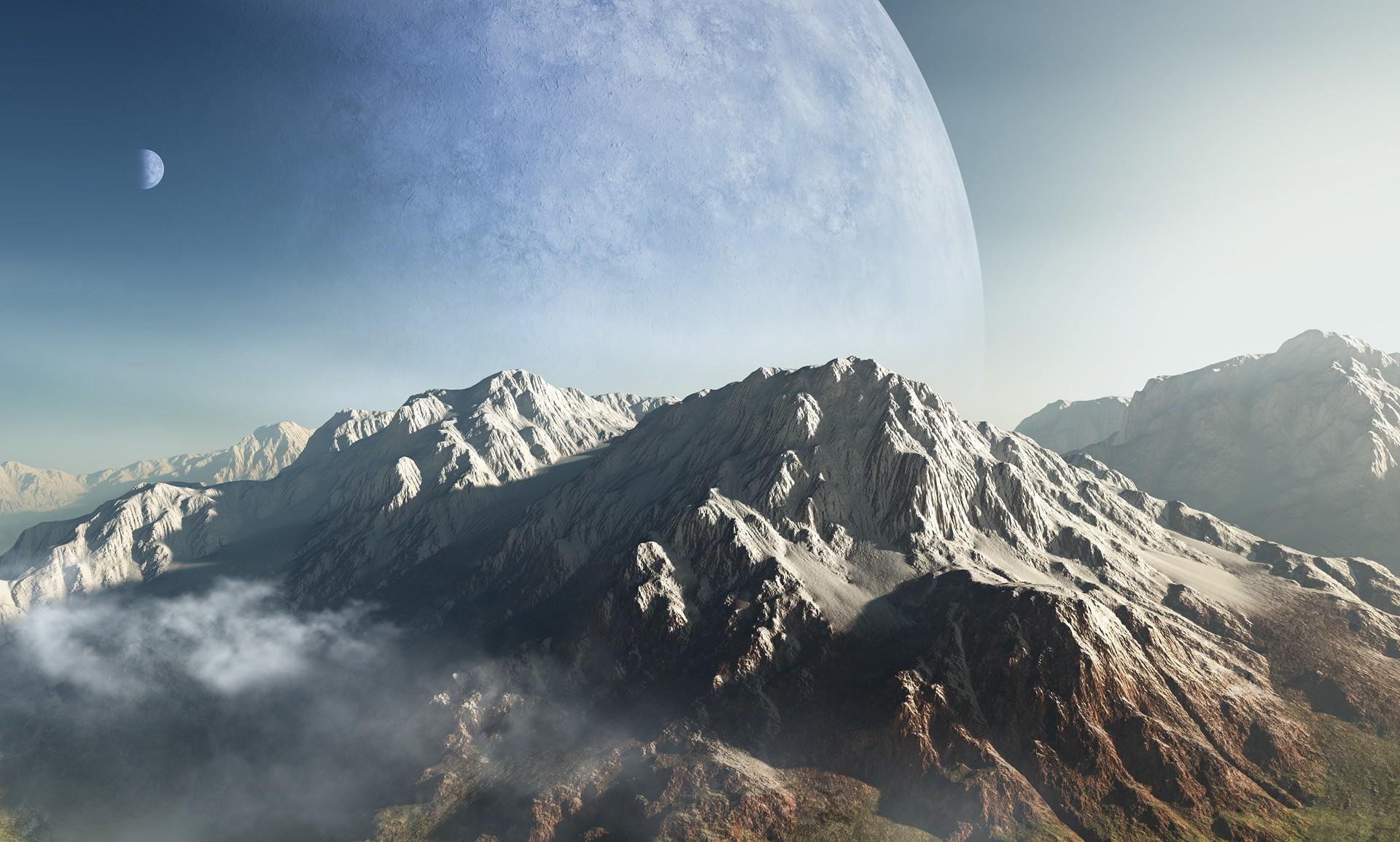 Планеты над горами  № 1164061 бесплатно