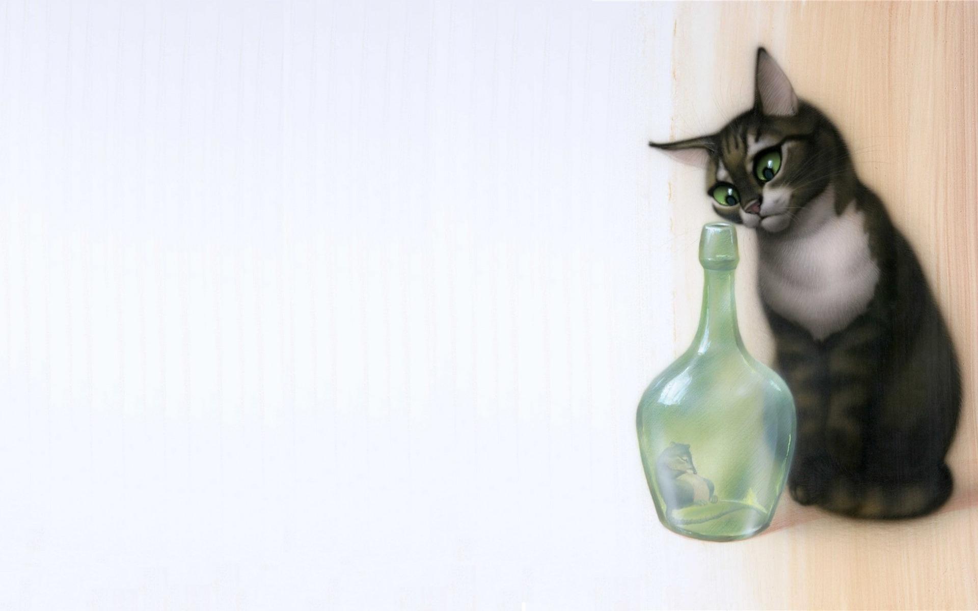 Днем рождения, смешной рисунок кошки-мышки