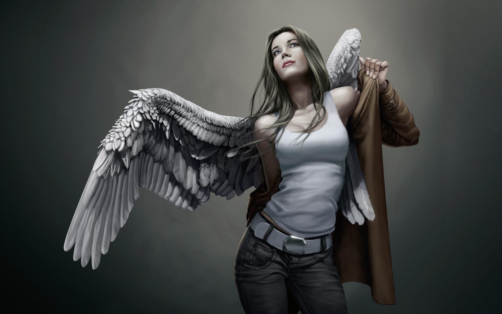 Обои на телефон девушка с крыльями