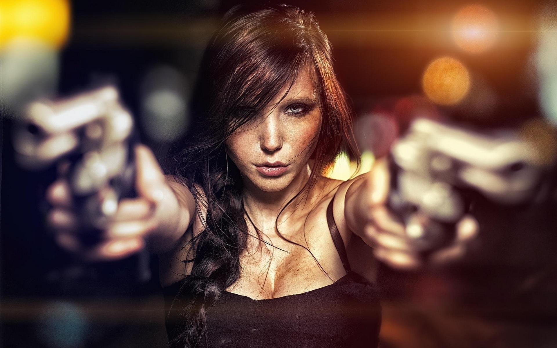 Прикольные картинки девочка с пистолетом