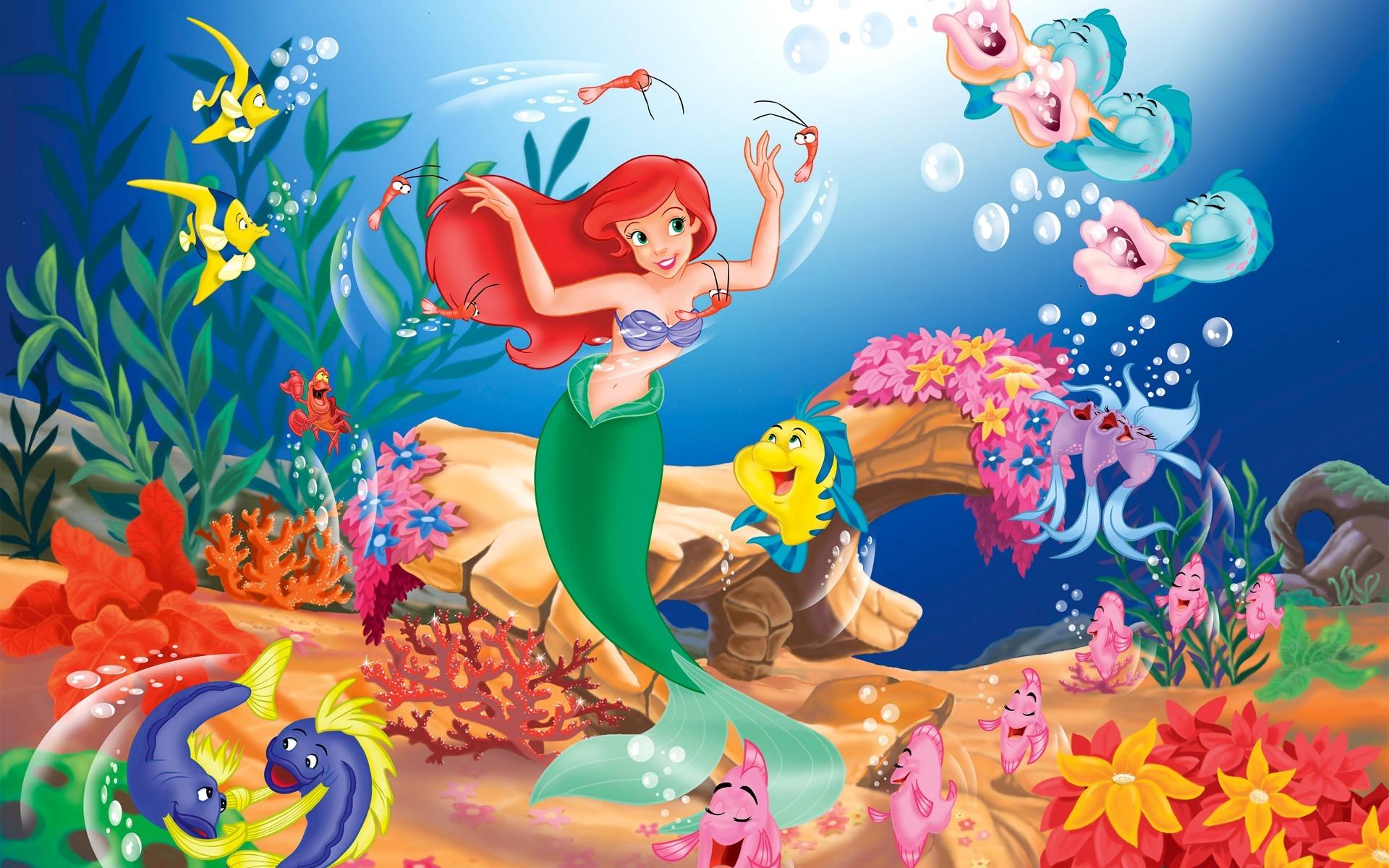 Картинки русалочка ариэль с рыбкой