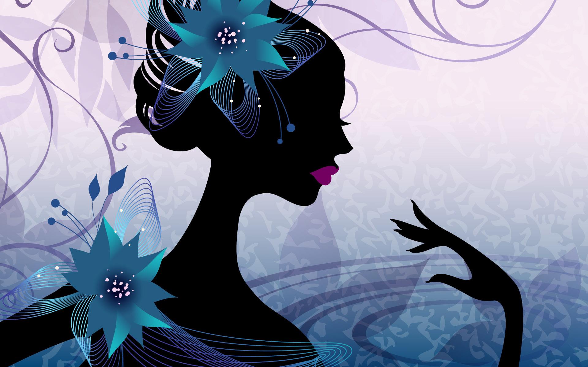 графика абстракция девушка цветы graphics abstraction girl flowers  № 2062433 бесплатно