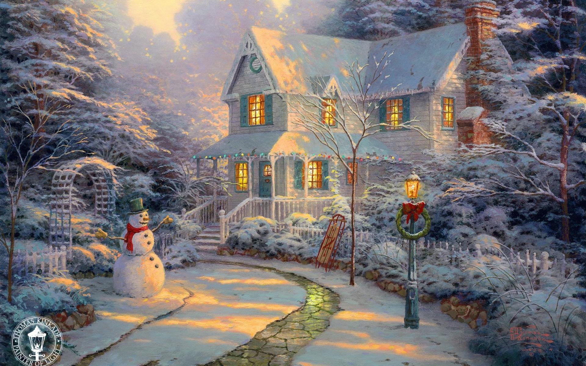 Картинки, открытки с рождеством с домиками
