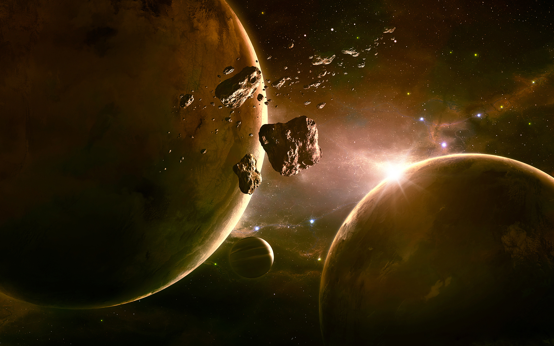 asteroid planets - HD1920×1200