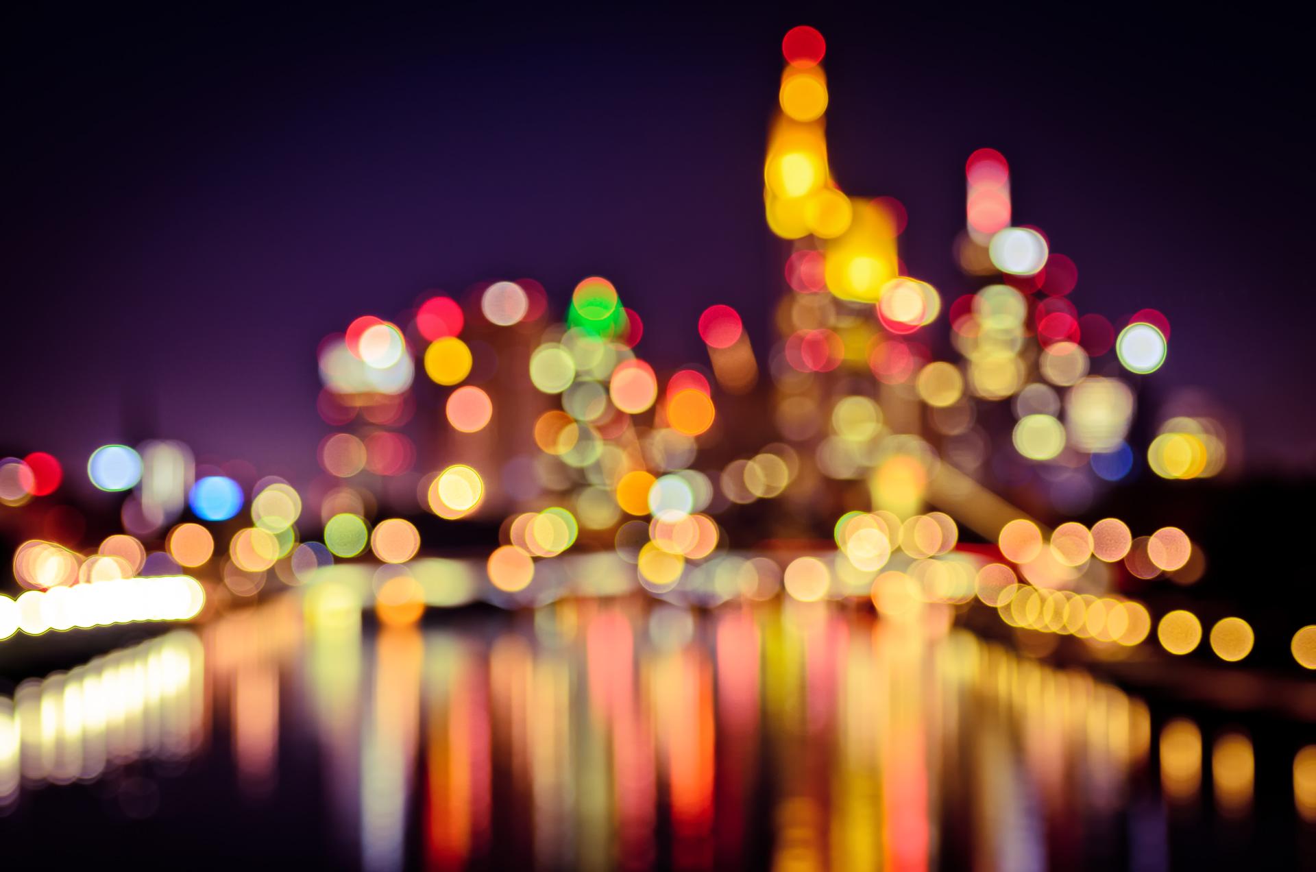 фоторедактор огни вечернего города