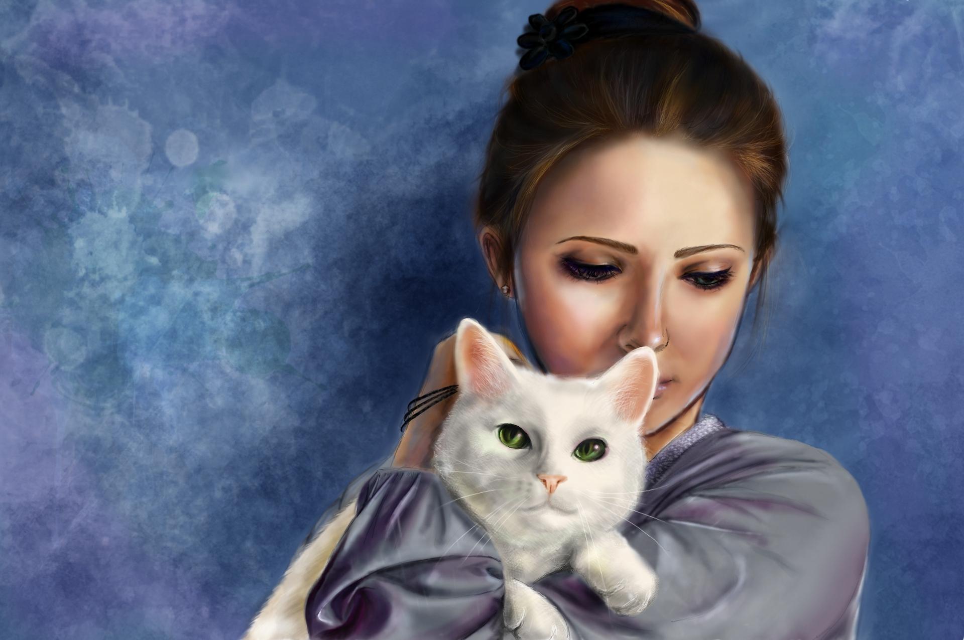 Клубникой, открытка девушка кошка