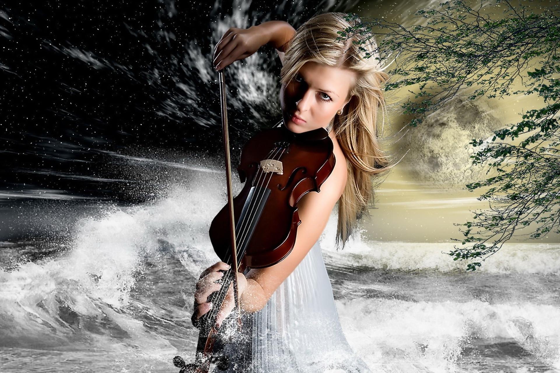Девушка со скрипкой абстракция  № 2052344 загрузить