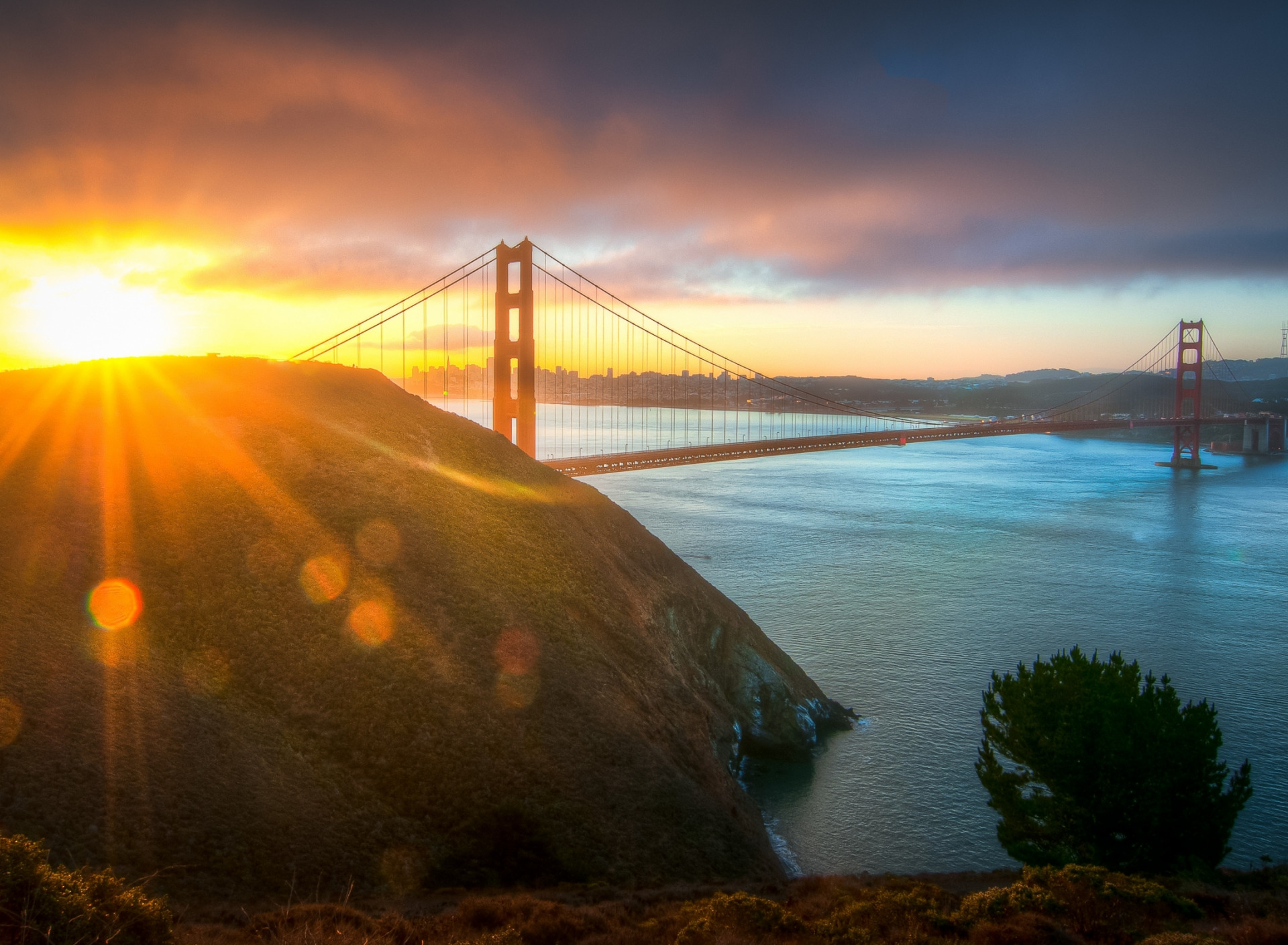 sunrise pictures golden gate - HD1280×1024