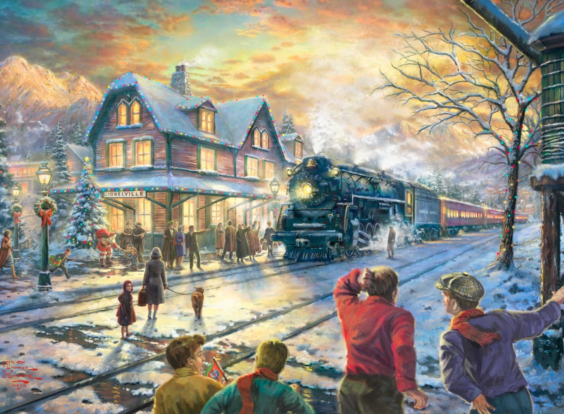 новогодние картинки американских художников окно