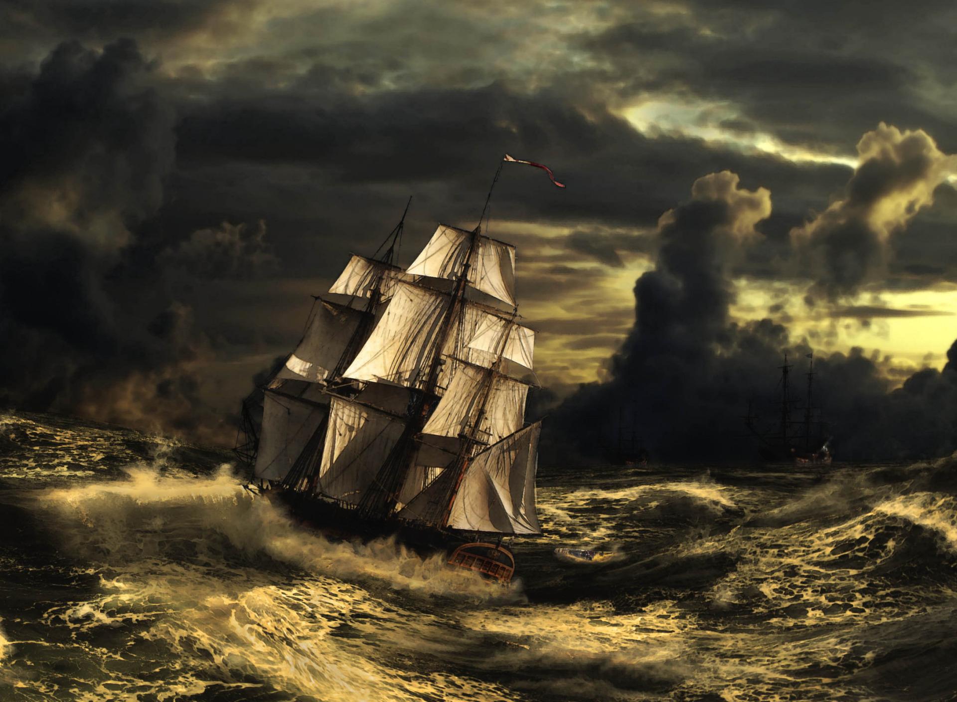 картинки пиратских парусников в шторм солнечной