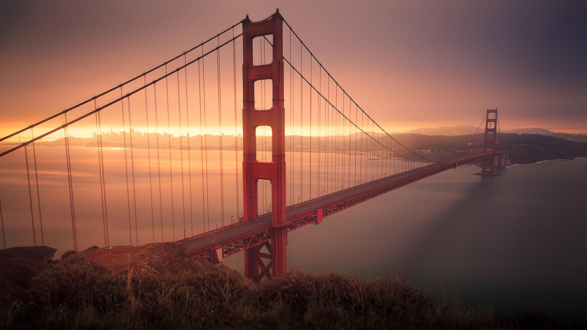 Evening Crossing, Bay Bridge, San Francisco, California  № 3721057  скачать