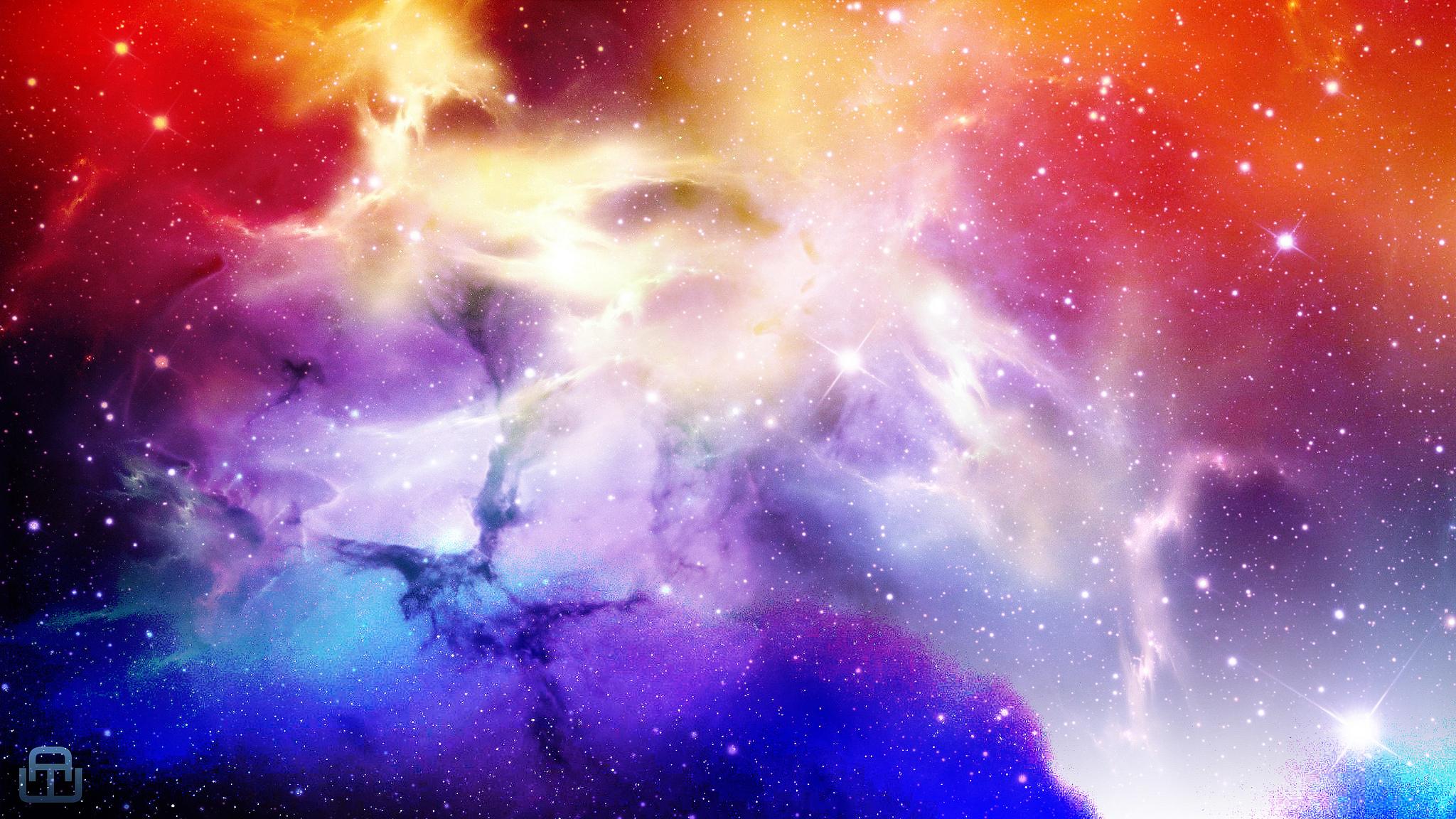 скачать обои космос синий красный сиреневый звёзды