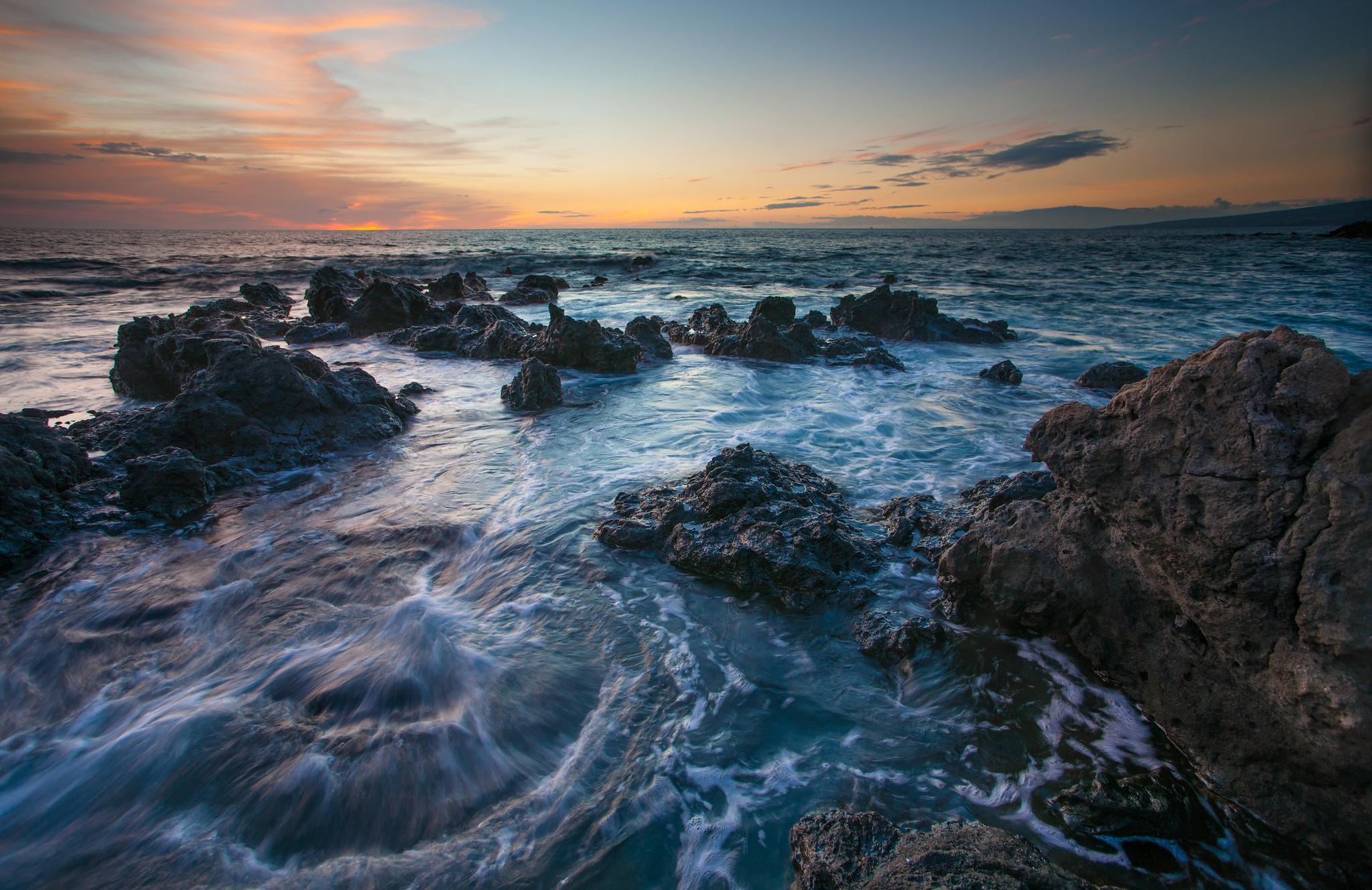 море океан камни скалы закат sea the ocean stones rock sunset  № 2530594 загрузить