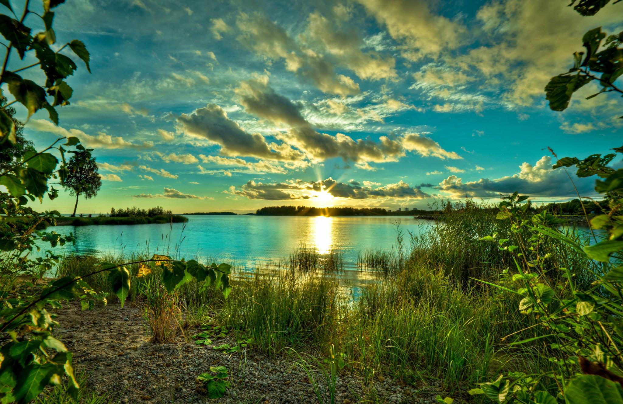 природа облака солнце река  № 2602858 бесплатно