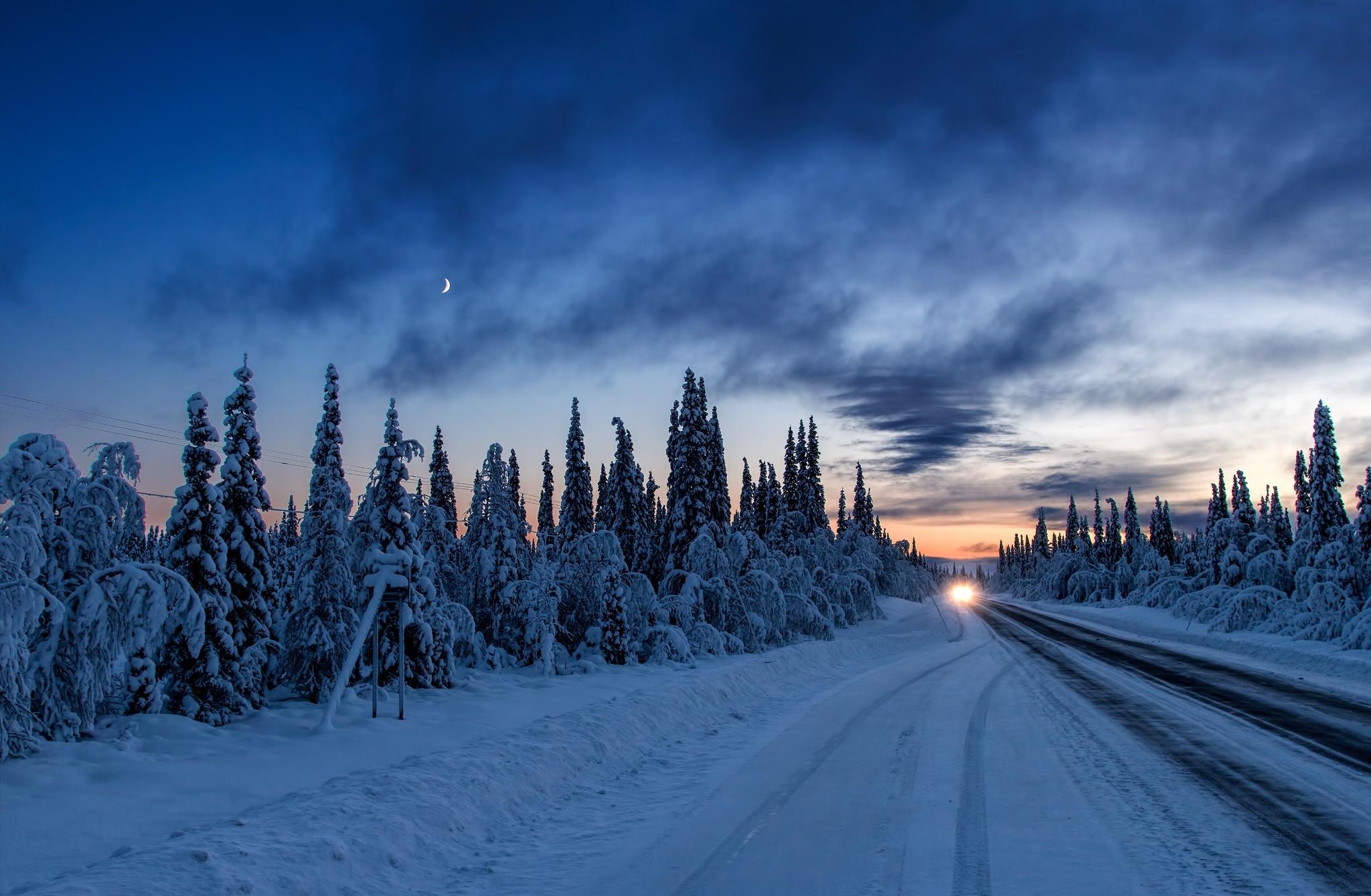 дорога зима вечер снег  № 3902508 без смс
