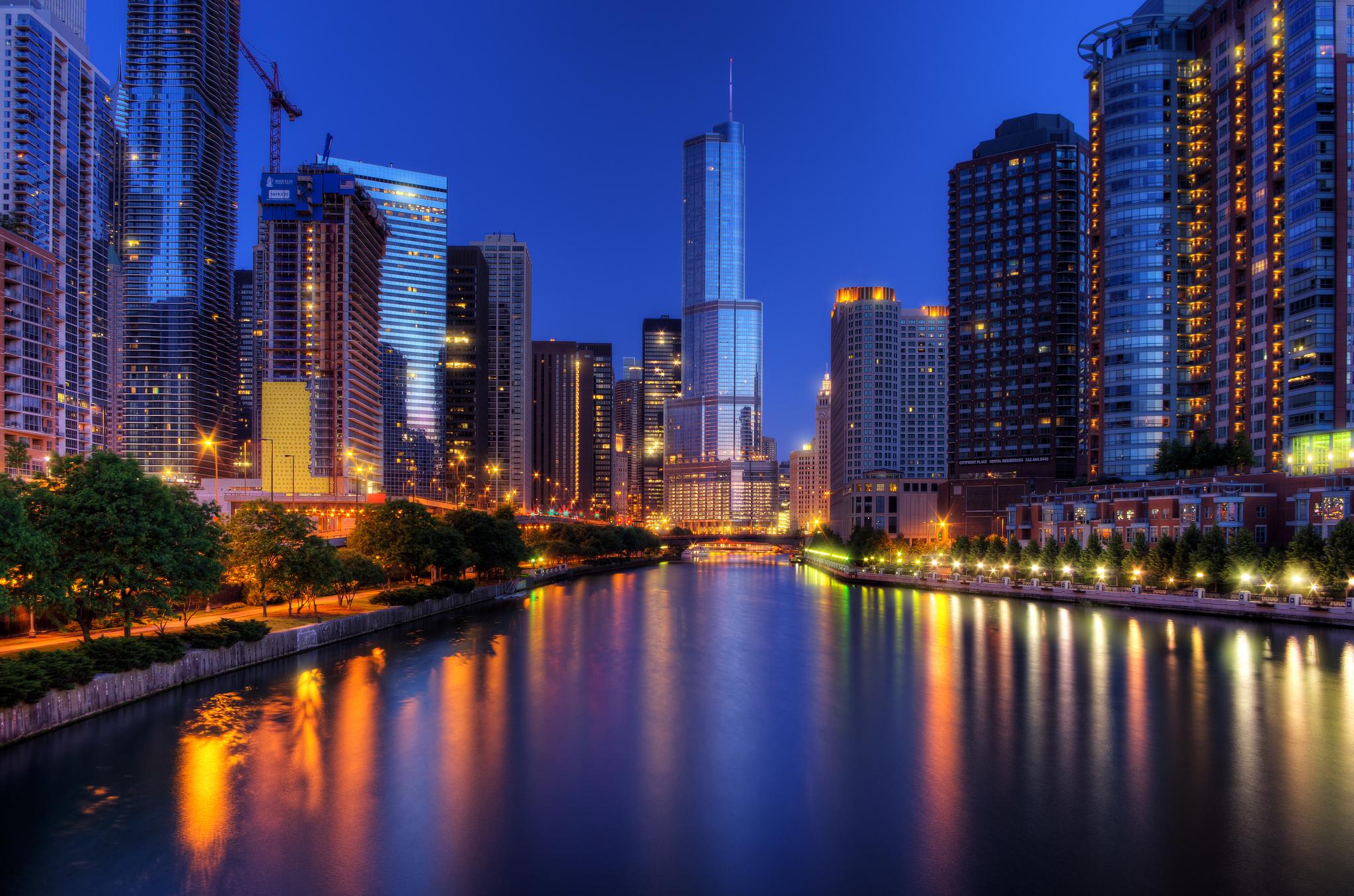 Ночной порт в Чикаго  № 3504458 загрузить