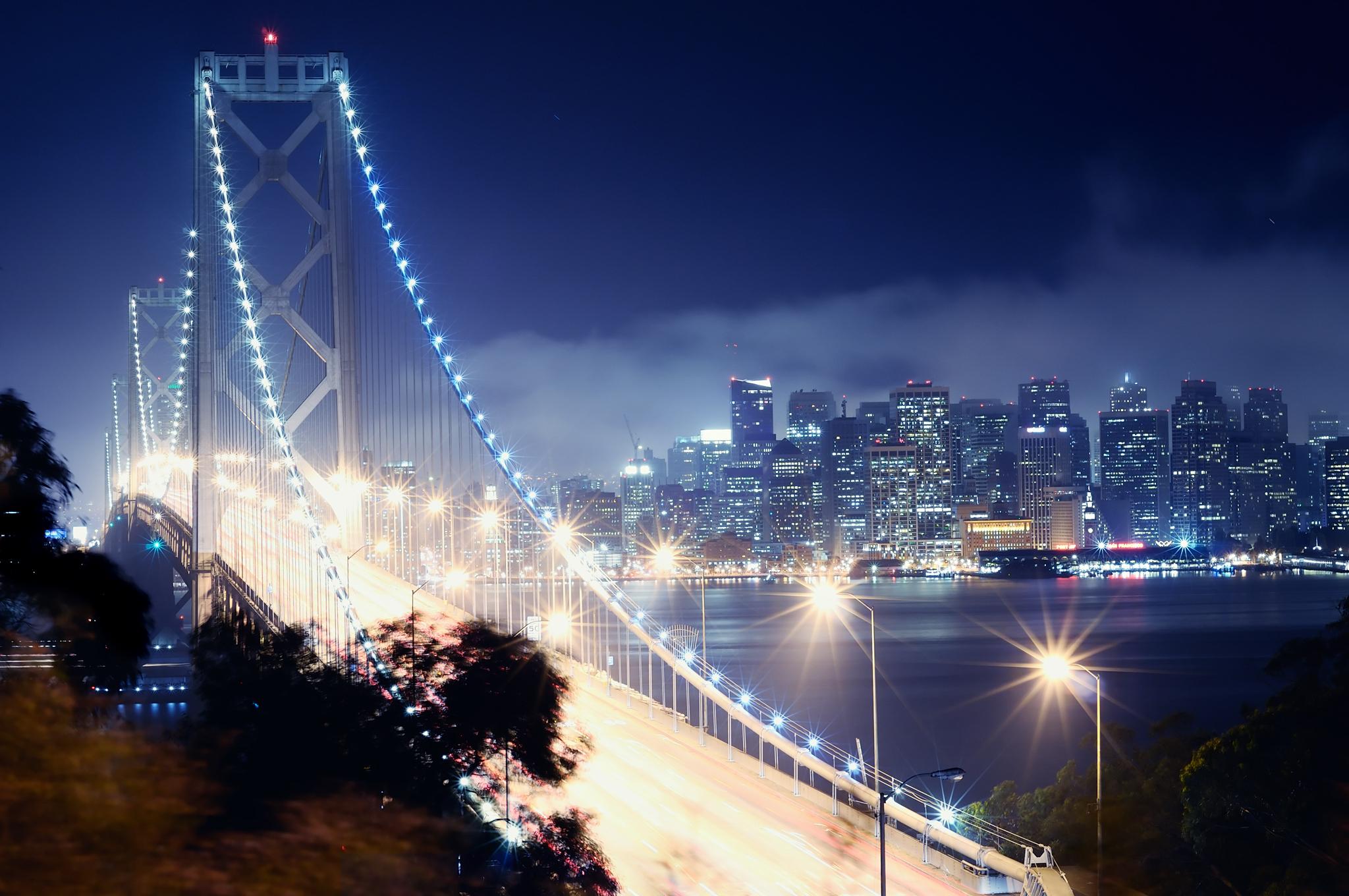 Evening Crossing, Bay Bridge, San Francisco, California  № 3721029 бесплатно