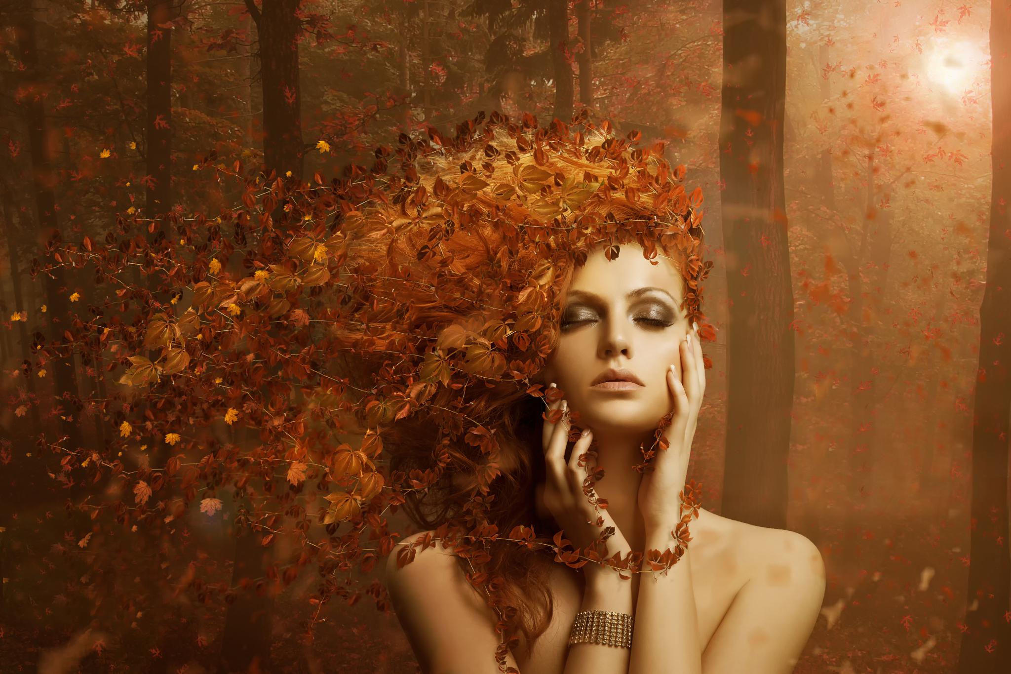 Картинки про девушку осень