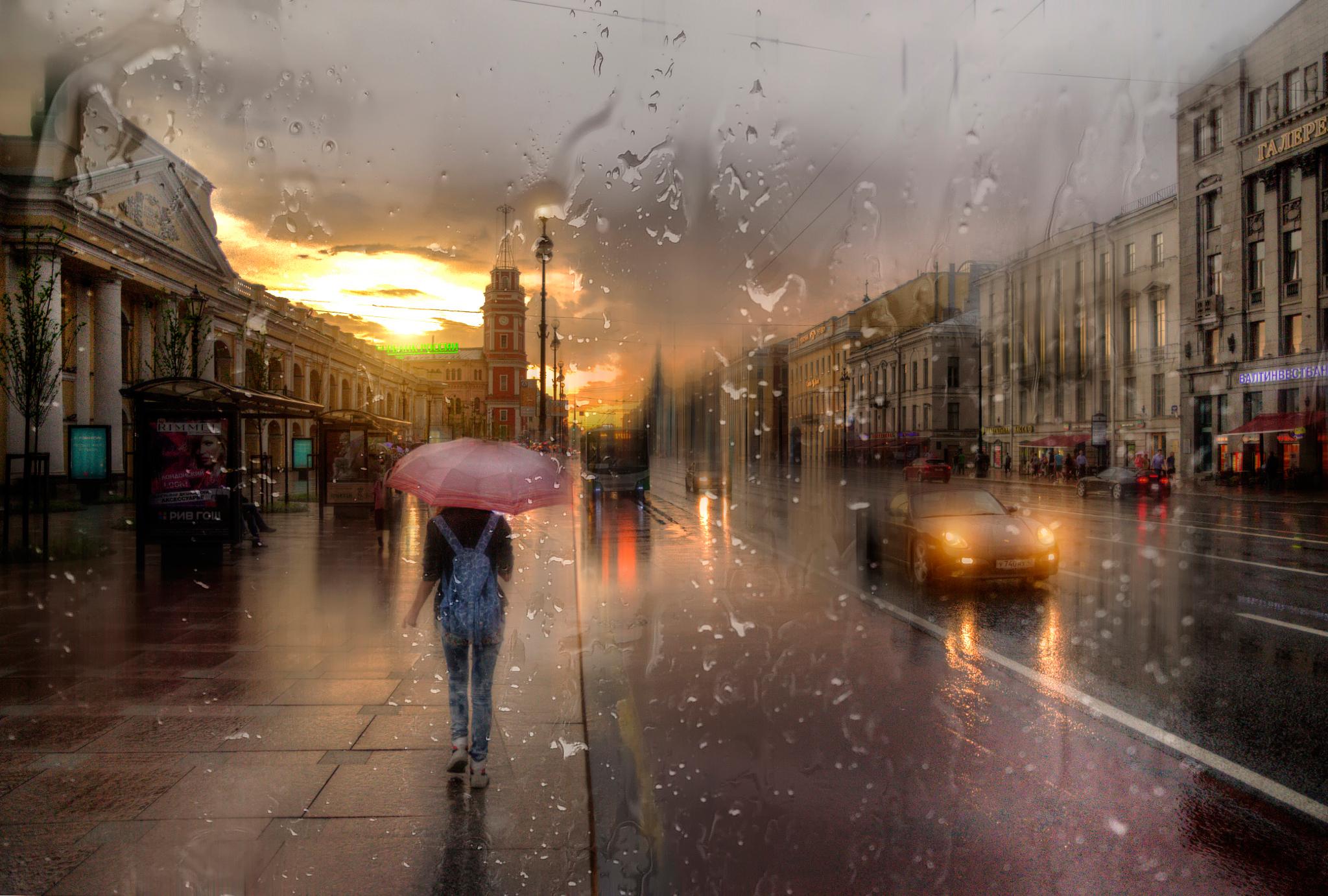 Картинка город в дожде
