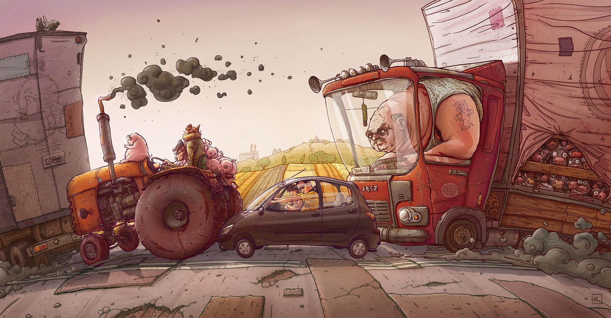 Смешные картинки нарисованные на машинах, для мамы мимоза