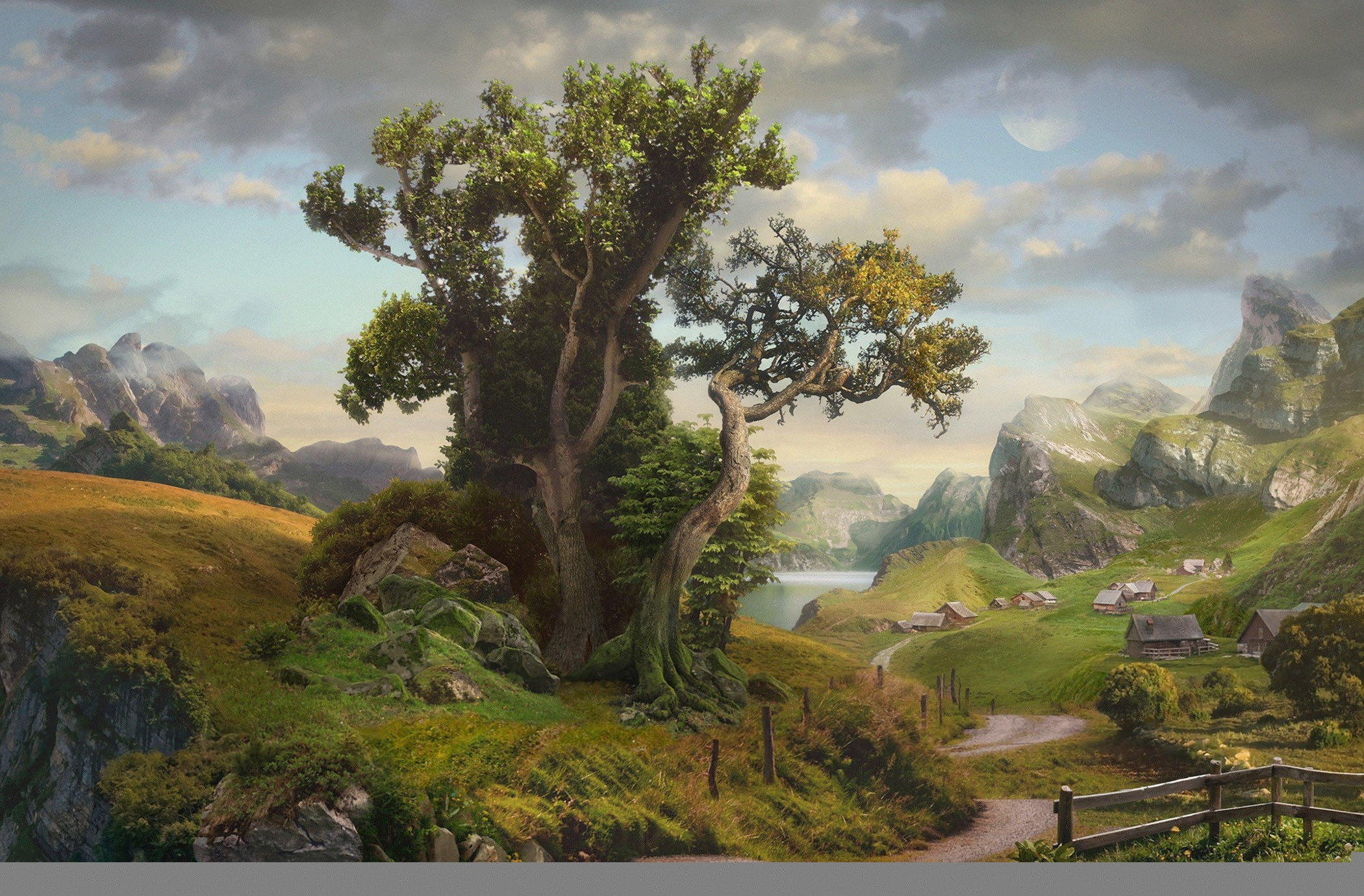 графика природа деревья горы дом  № 3243612 загрузить