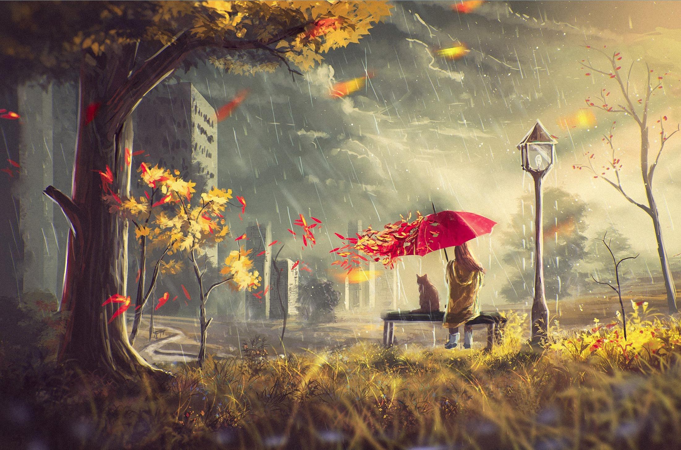 девушка зонт дождь природа  № 3582405 бесплатно