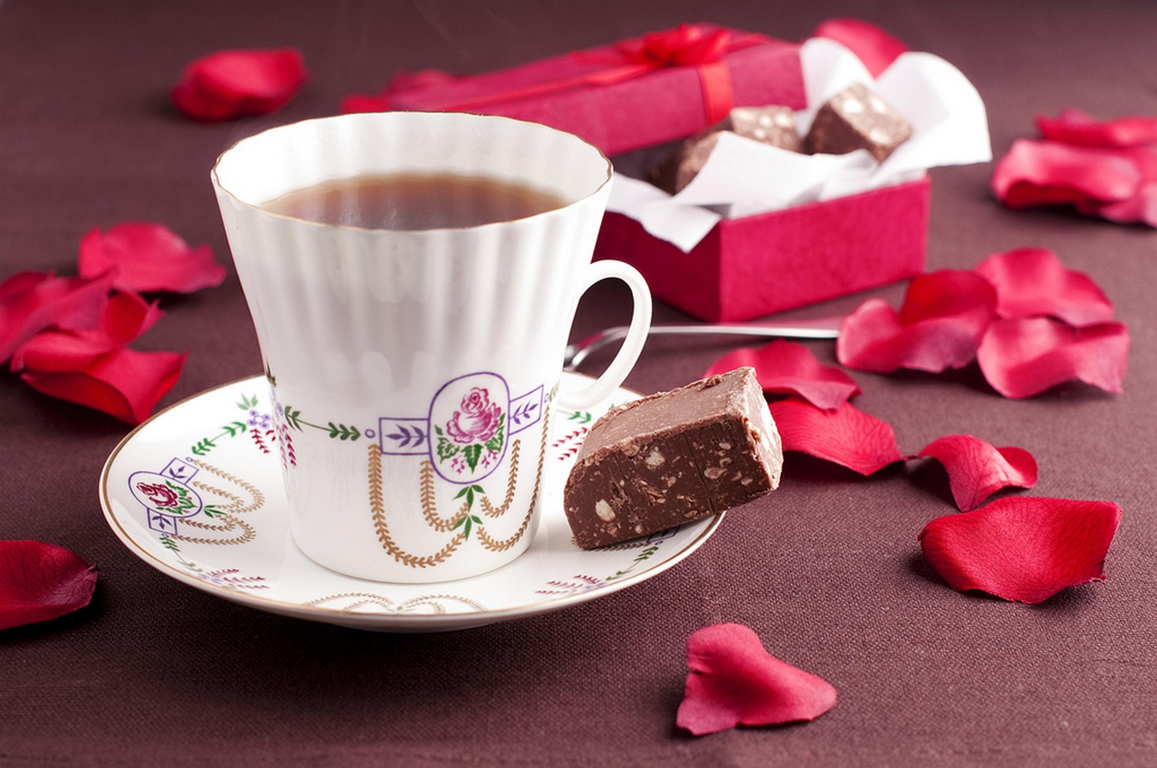 Шоколадка и чай в открытке, валентина открытки открытки