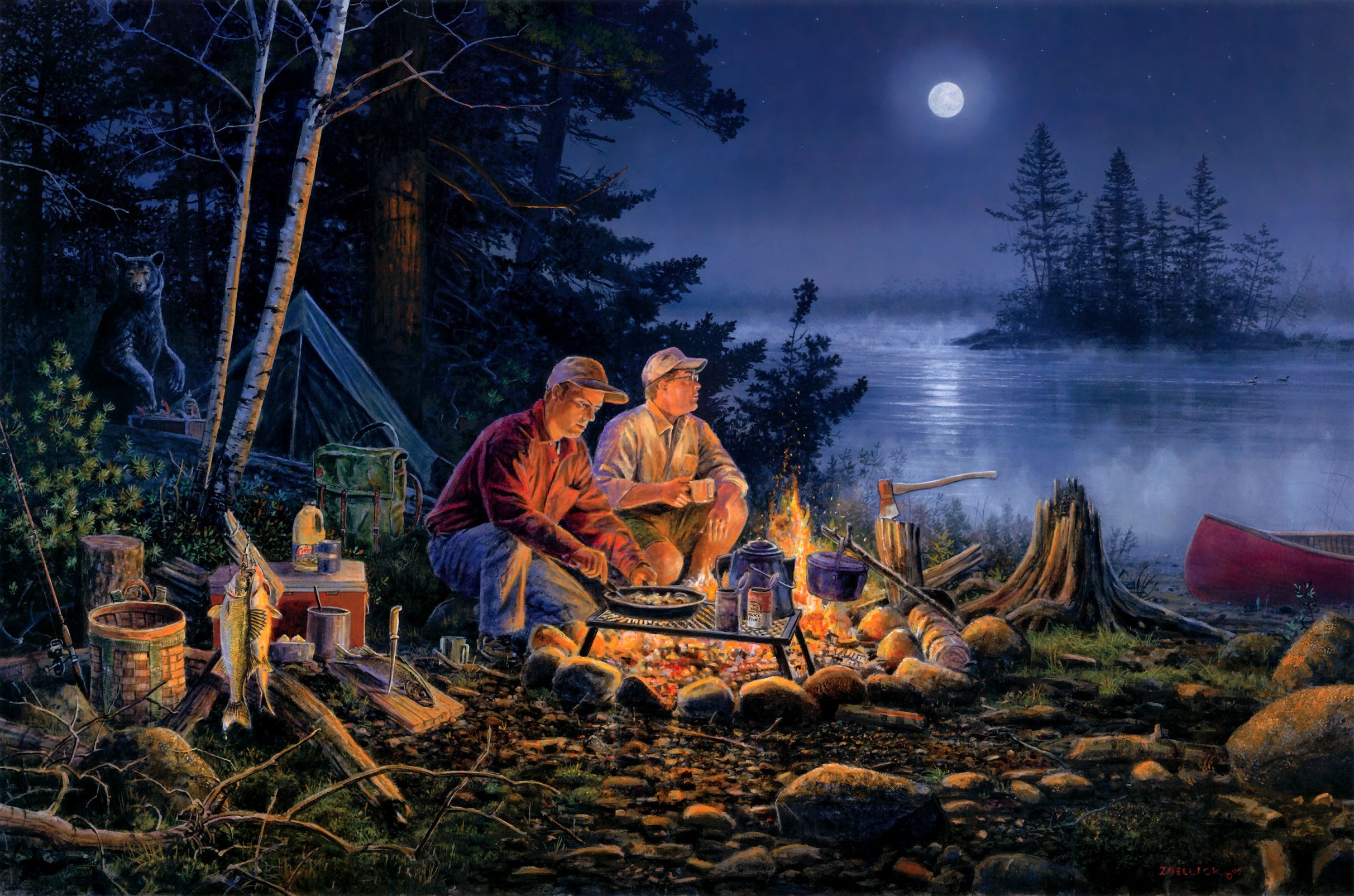 Картинки лес костер палатка