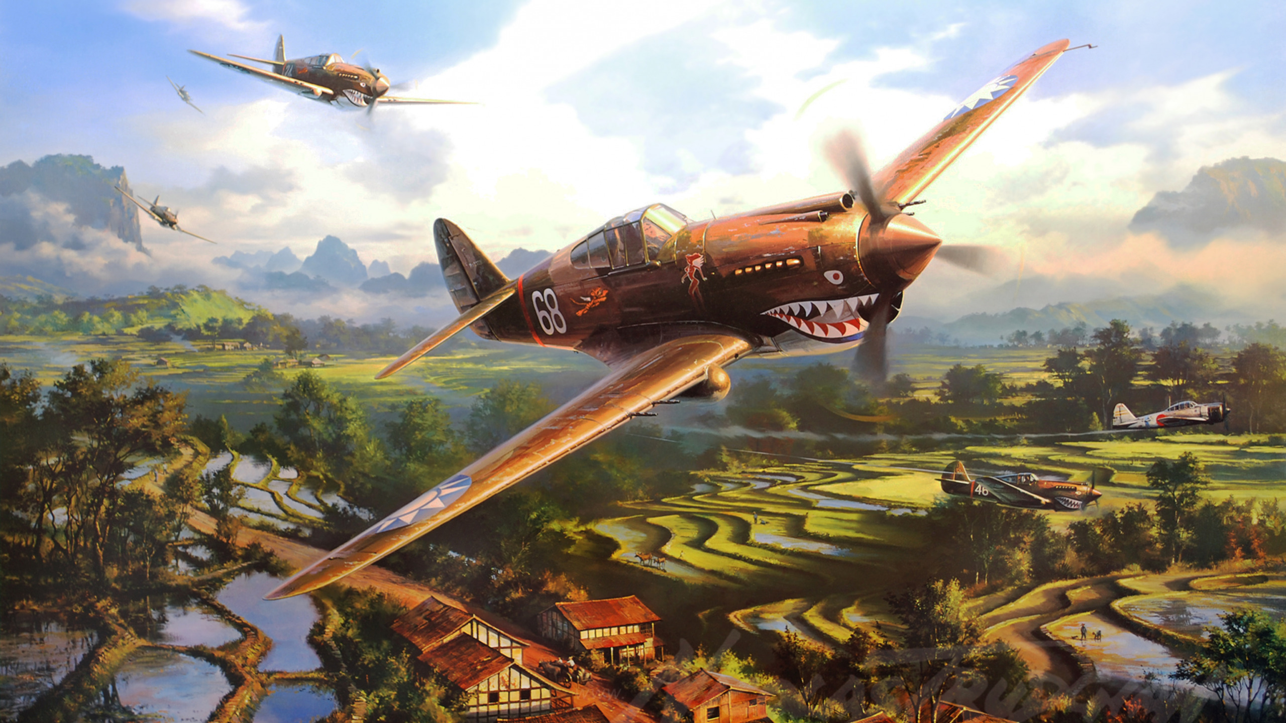 Обои painting, war, aviation, P 40 Tomahawk, ww2. Авиация foto 7