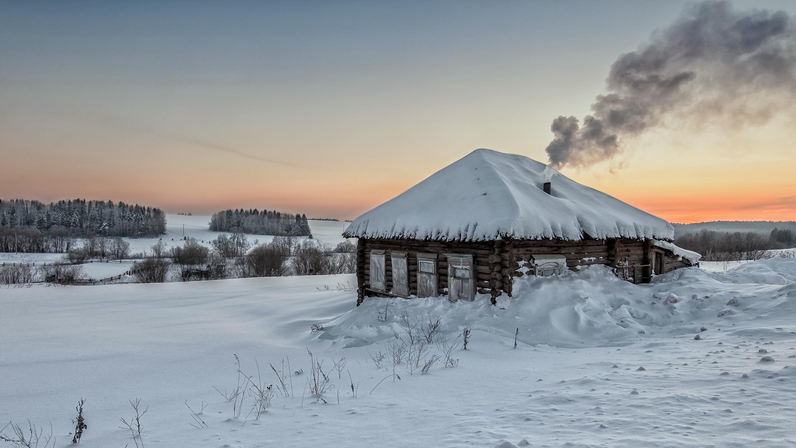 Фон деревня зимой