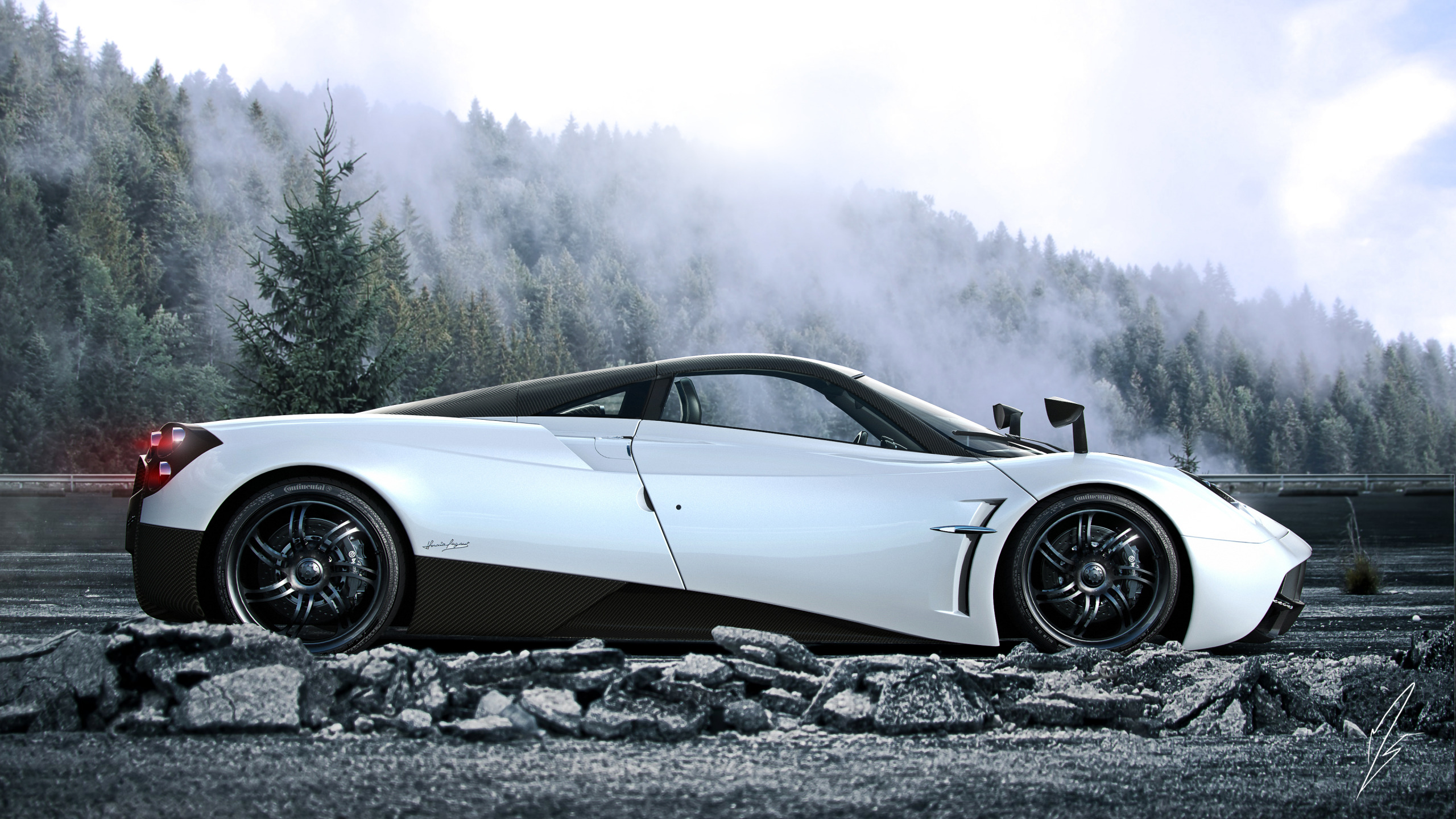 Pagani huayra white wallpaper