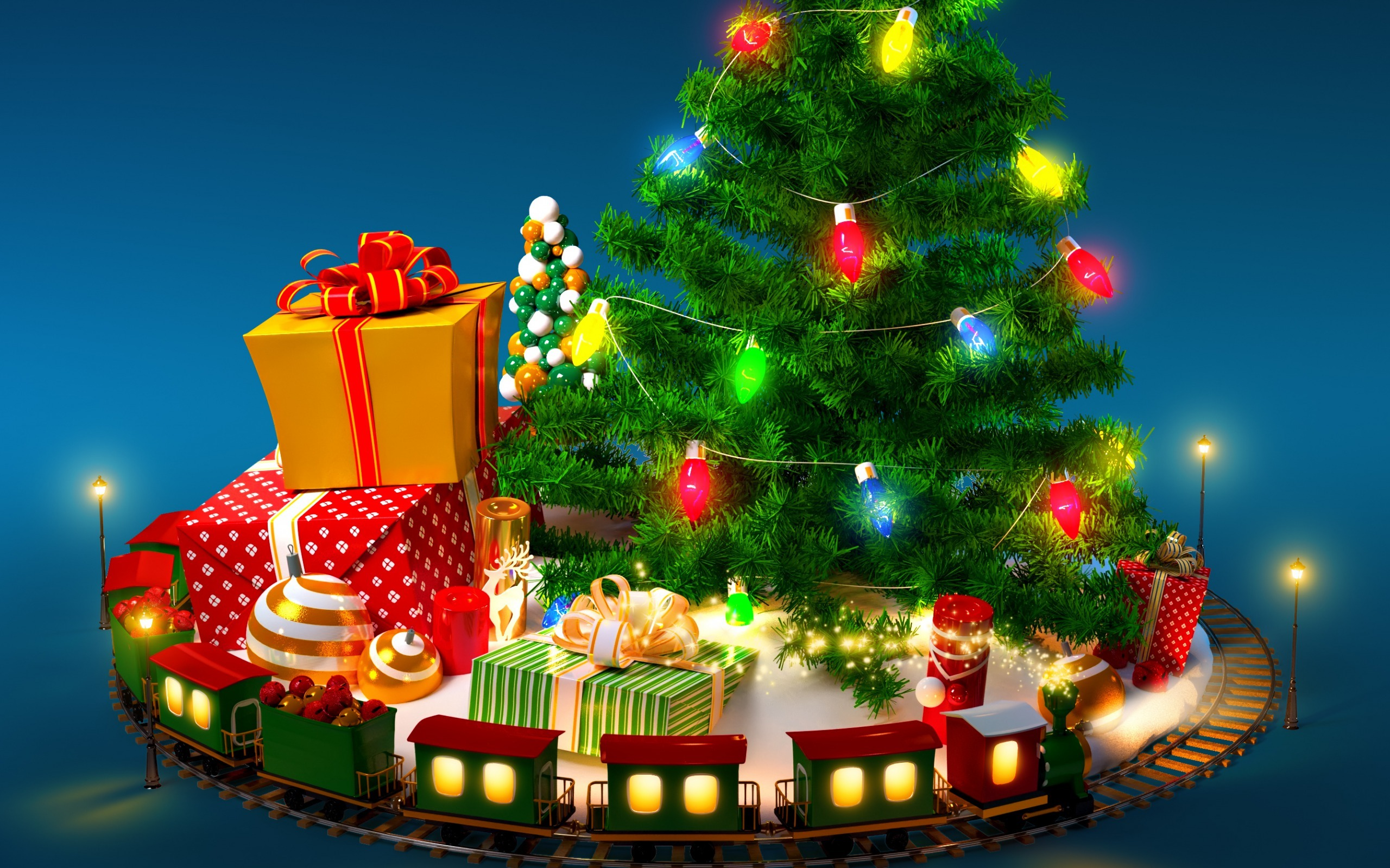 С новым годом картинки елка подарки