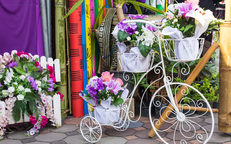 Обои на рабочий стол велосипед с цветами