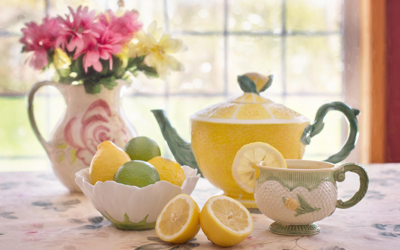 Чай с лимоном открытка, картинка
